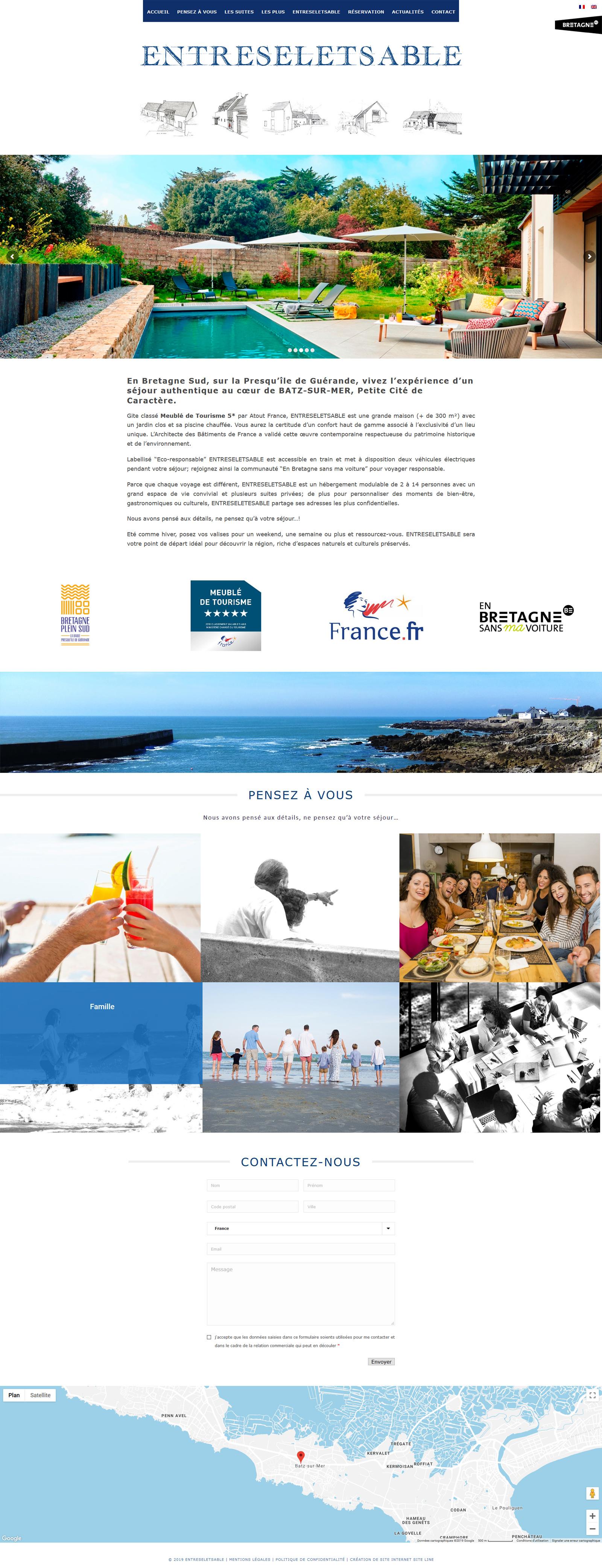 création du site web d'un gîte en Bretagne