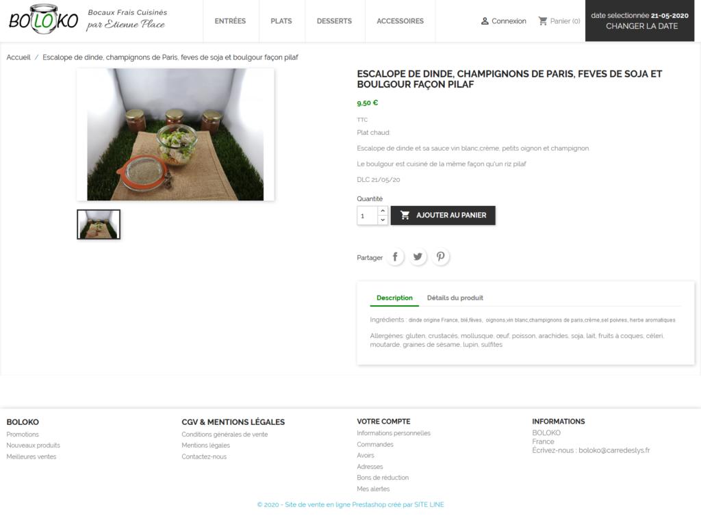 création d'une boutique de vente en ligne de traiteur