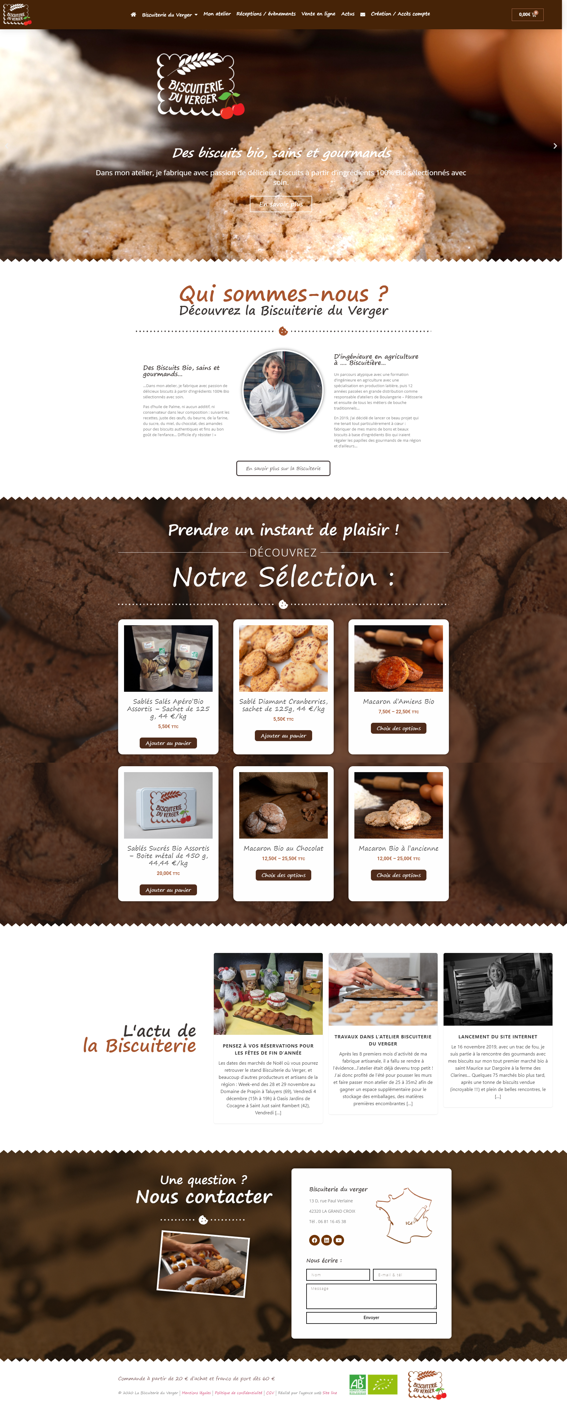 creation site internet vente en ligne biscuiterie bio