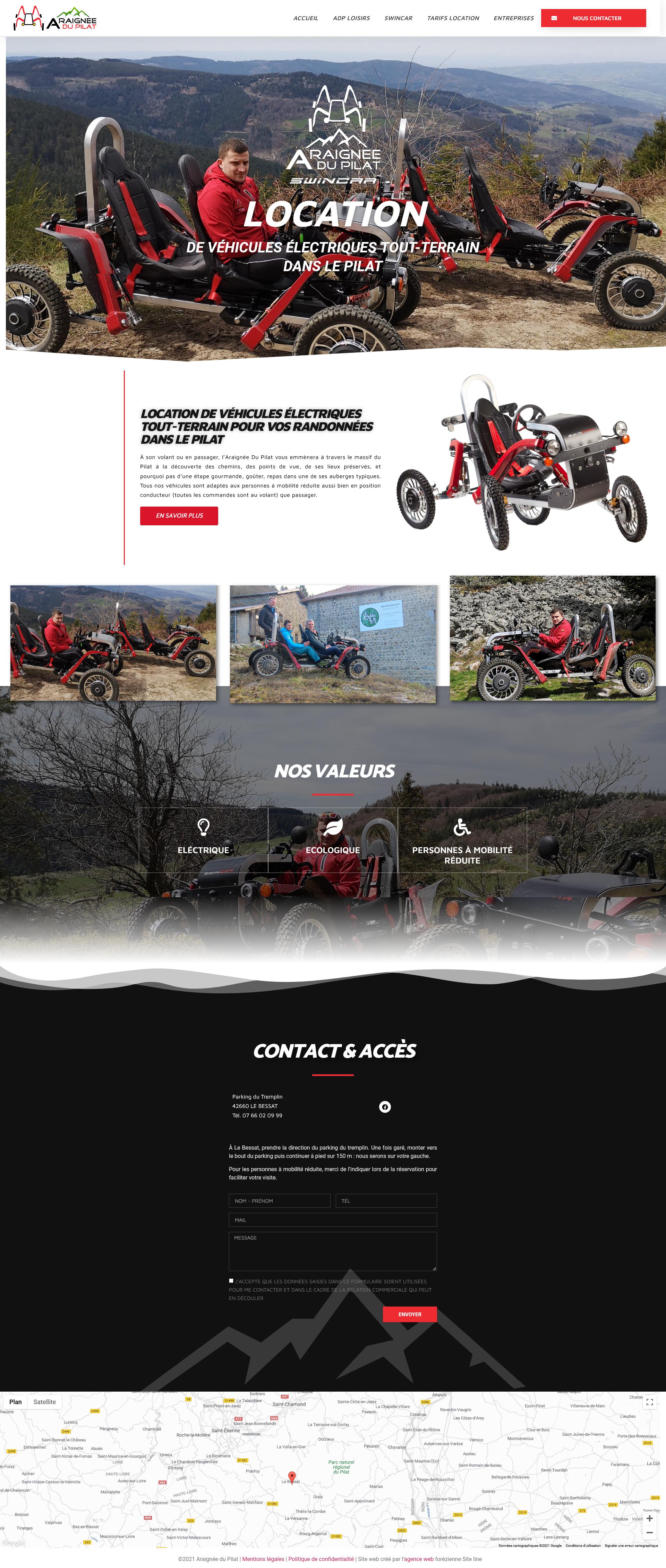 creation site Internet location vehicules electriques tout-terrain