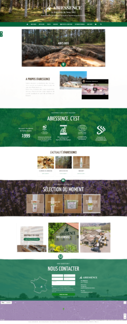 creation du site web vitrine d'Abiessence, distillerie d'huiles essentielles bio