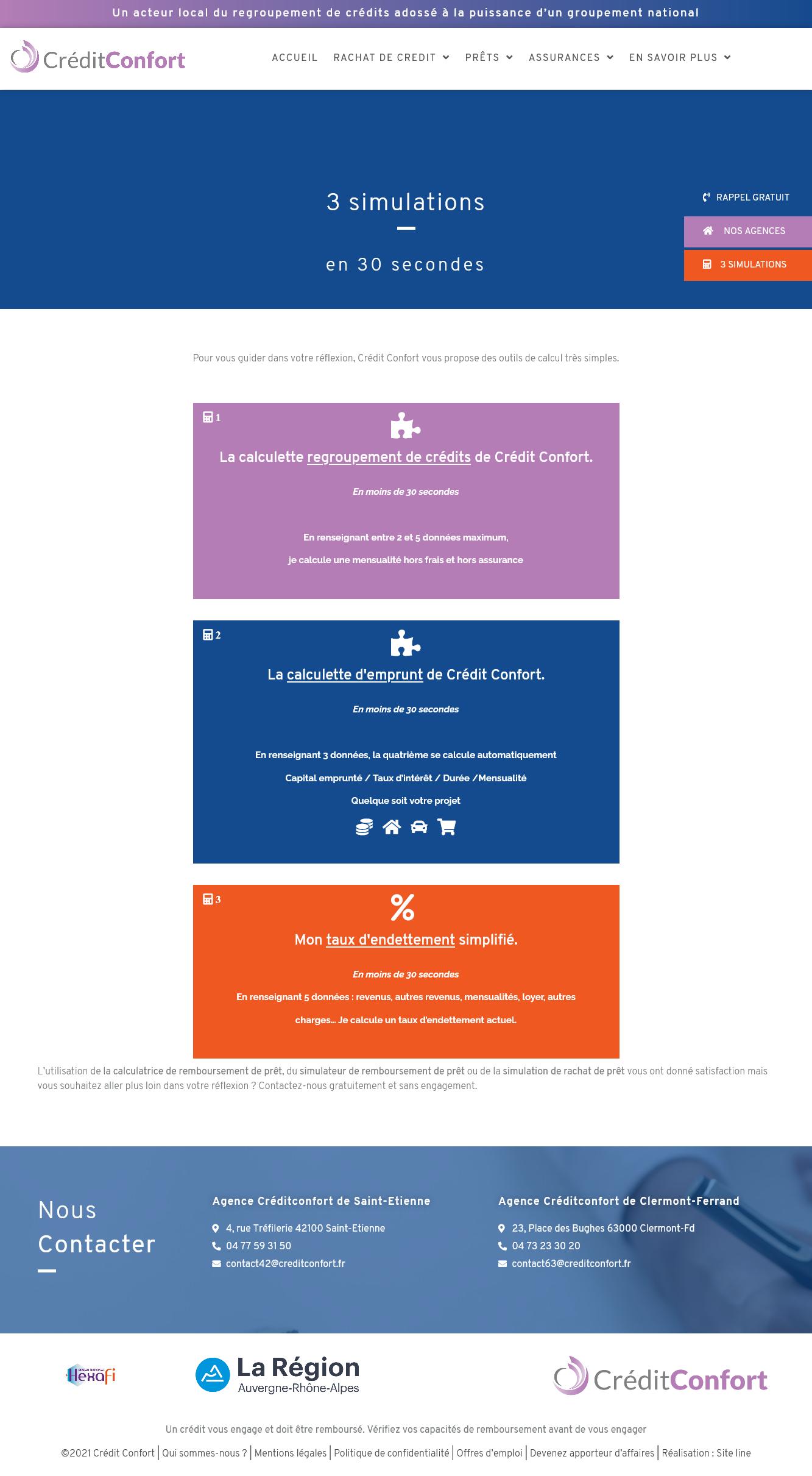 création 3 outils de simulations site Internet crédit Confort